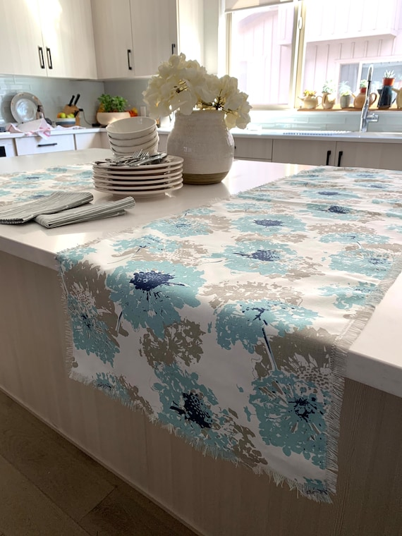 Soft Blue and Gray floral print table runner| Easter| Spring|Farm table|Patio table|Across the table| Coffee table |Consoles| Outdoor table