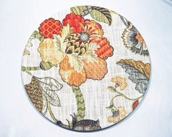 Fantasy Charger Plate Cover|Floral print fabric|100% cotton| washable|table setting|parties|special events|Gift|Spring|Summer|Set of two.