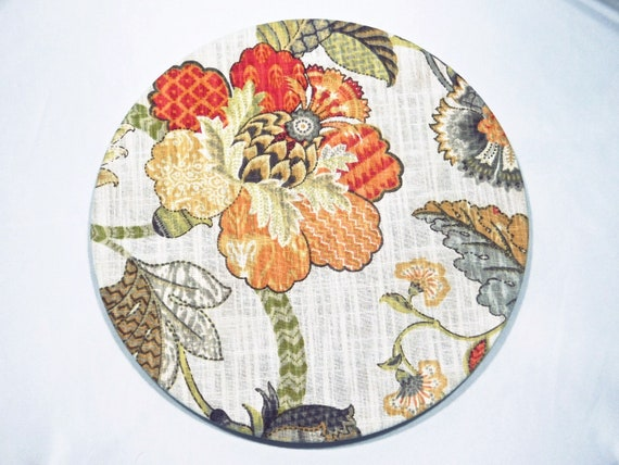 Fantasy Charger Plate Cover Floral print fabric 100% cotton  washable table setting parties special events Gift Spring Summer Set of two.