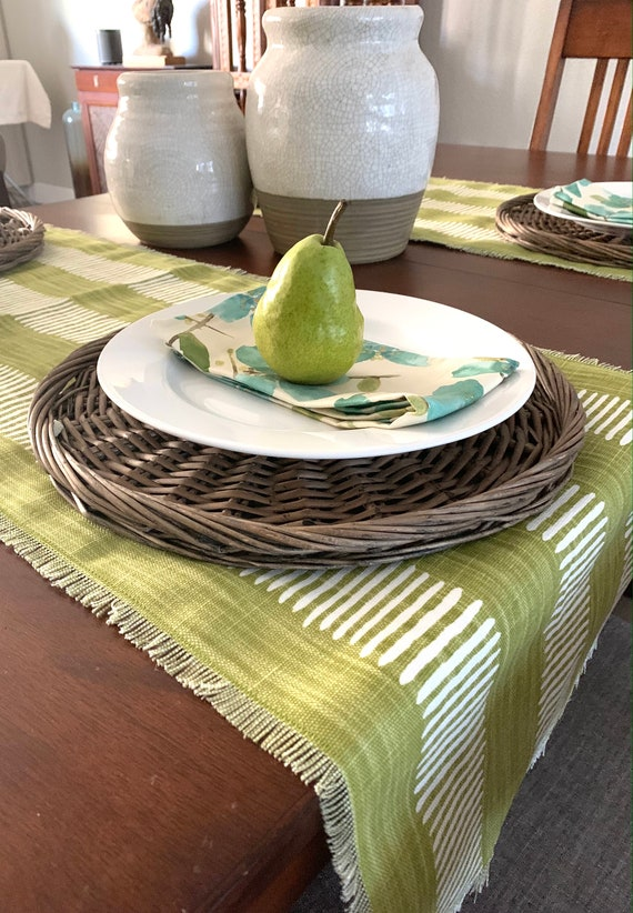 Chartreuse Cotton canvas blend table runner|Apple green table runner| Across the table|Gift|Outdoor|Boho| Consoles| Coffee table