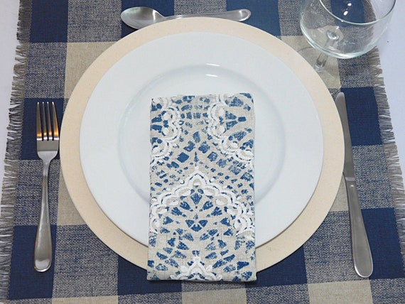 Check Blue and Beige table Runner  Plaid canvas Table setting Patio Table Farmhouse  Cabin decor Weddings Spring Summer  Outdoor table decor