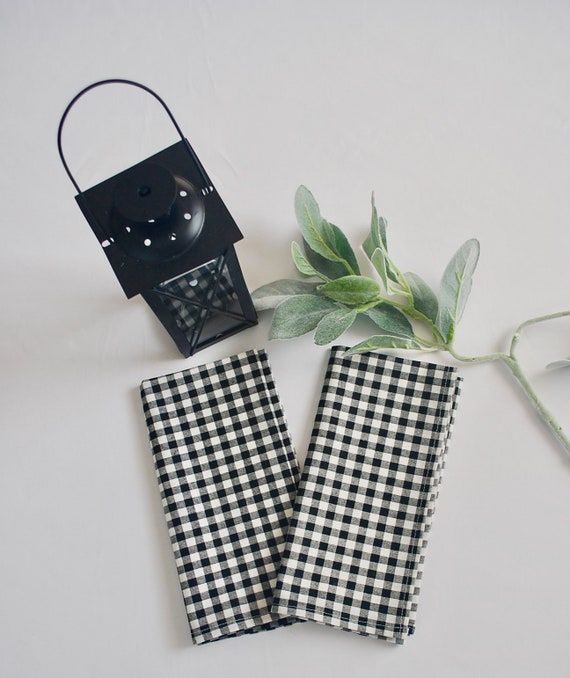 Gingham napkins|Black and white|100% cotton|Set of Two| Holiday|Table decoration|table setting|Farm table|Gift|Spring|Summer