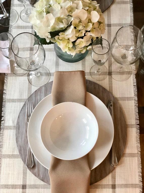 Plaid Cream table runner | Fringes|Cotton- Linen|Gift|Farmhouse|Spring|Summer|Rehearsal Dinner Table Setting|Custom orders available