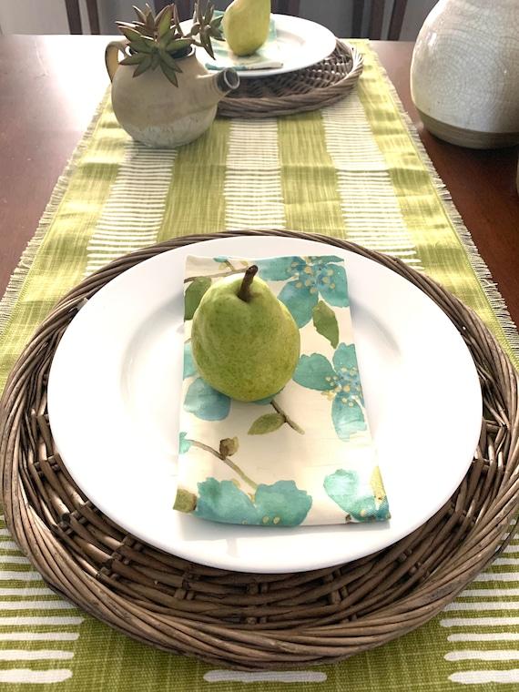 Chartreuse Cotton Linen blend table runner| Apple green |White stripes| Spring decor|Easter decoration|Modern table decoration|Custom orders