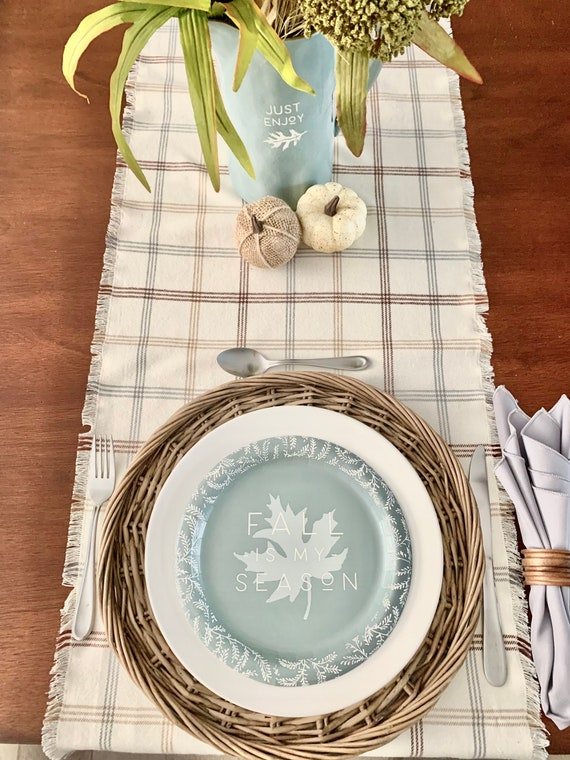 Fall table runner| Cream with Gray and brown stripes| Soft and Cozy| Fall decoration | table setting| Thanksgiving|Farmhouse