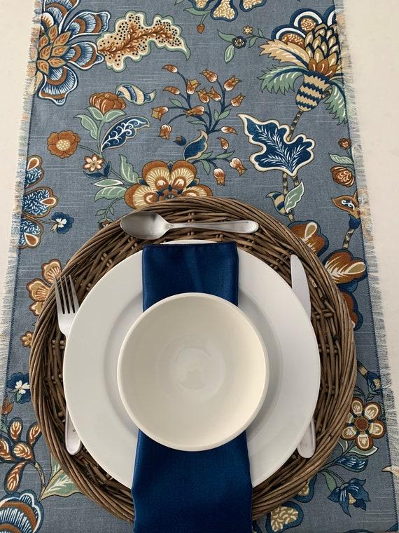"Blue table runner| floral print table runner| Fall table runner |Modern|Contemporary| Table setting|Dining | Fringes1/2"" |Custom orders"