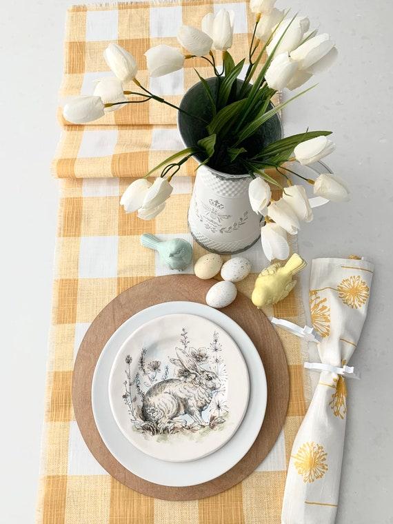 Yellow Buffalo Plaid table runner, Summer table decor,| Farmhouse table runner, PatioTable settings| Fringes| Custom Orders available