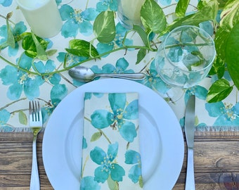"""Emerald green Cotton Napkins 17"""" x 17"""" Set of Two  Floral print Mother's day Table decor Spring decoration Weddings Rehearsal Table setting"""