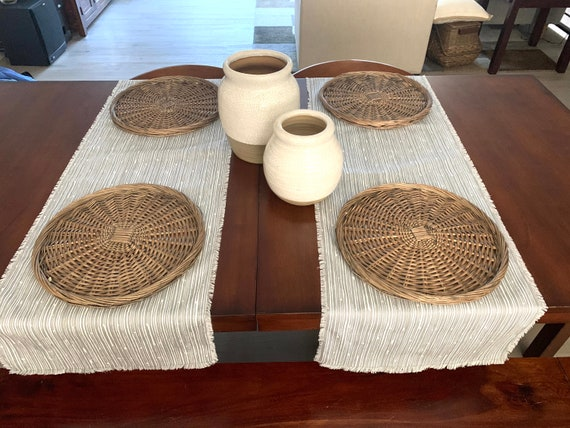 Gray and White stripes Table Runner|Table setting||Weddings |Gift|Spring|Summer|Farm Table|Elegant |Across the table|Coffee table| Console