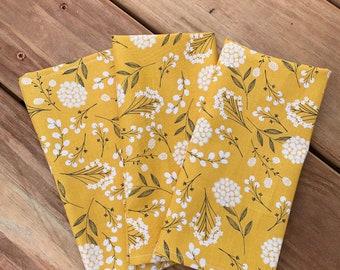 "Mustard floral cotton napkins  Picnic Napkins  Ochre napkins  17"" x 17""  Set of two  Spring napkins Patio table napkins Outdoor Alfresco"