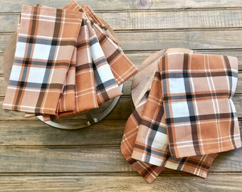 Autumn Plaid Cotton Napkins  Set of Two  Fall table decoration  Thanksgiving  spice warm harvest colors  Orange, Cream, Brown  Holiday Decor