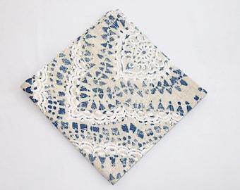 "Tuscany Cotton Dinner Napkin 17""x17""|Set of two| Farmhouse table napkins|White and blue print|Wedding napkins|Gift|Spring|Summer"