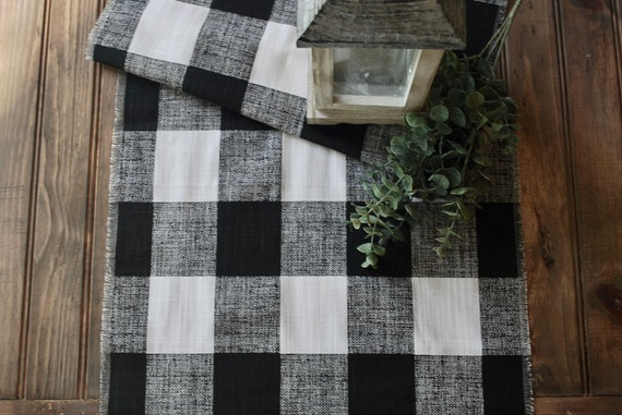 Elegant Black and White Buffalo Check Table runner  Plaid   Cotton  Year round table decor  Gift  Farmhouse  Custom orders Available