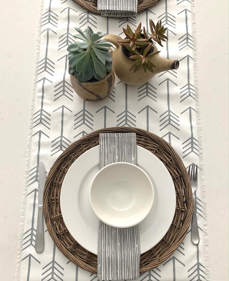 Gray striped Napkins Dinner napkinsWhite 100% cotton print image 0