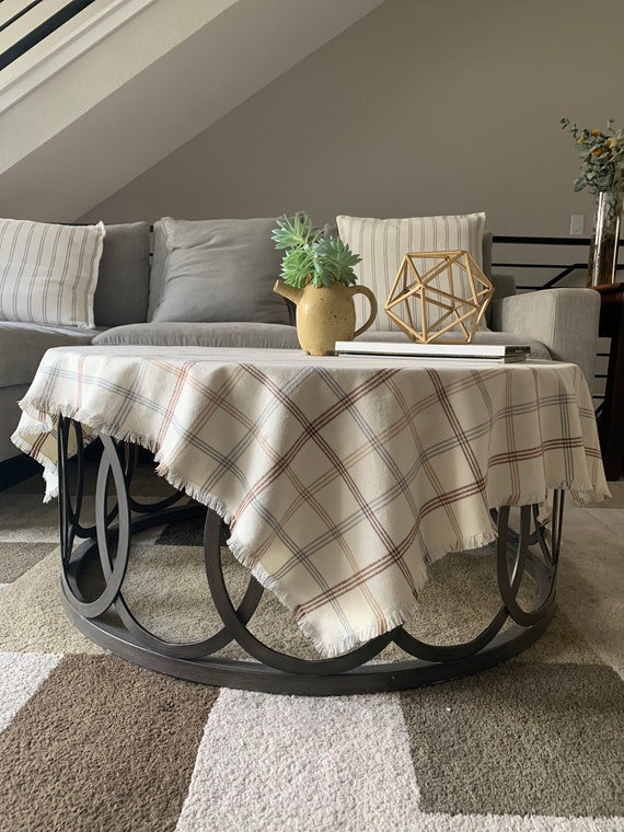 Fall table throw| Cream with  gray and brown stripes |Fall Decoration|Cozy| Coffee table| Warm|Farmhouse decor| patio table