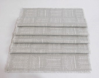 Molly Gray and White Print Table Runner with fringes|100% cotton|Washable|Table settings for dinner|parties|weddings|Gift|Spring|Summer .