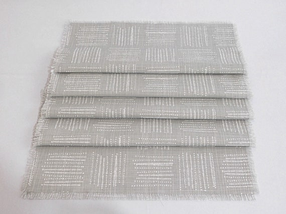 Molly Gray and White Print Table Runner with fringes 100% cotton Washable Table settings for dinner parties weddings Gift Spring Summer .