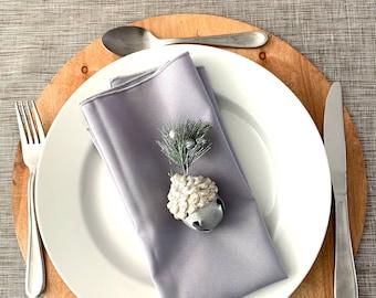 "Light Gray polyester Napkins  17"" x 17   Reversible  Plain and classic  Christmas decor  Farm table decor  Set of 4"