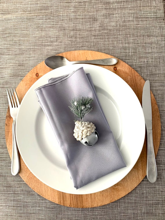 "Light Gray polyester Napkins| 17"" x 17 | Reversible| Plain and classic| Christmas decor| Farm table decor| Set of 4"