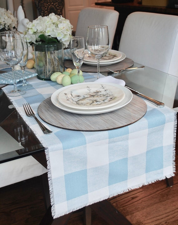 Light Blue Plaid Buffalo table runner with fringes Soft and delicate  Cottage Spring Farmhouse Country Wedding Custom orders available