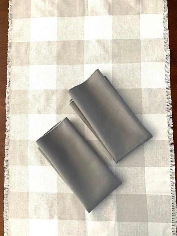 "Dark Gray Polyester Napkins| 17"" x 17"" | Table Decoration| Farm table| Reversible|  Set of 2"