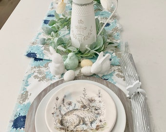 Blue and Gray floral print table runner  Soft blue  French  Farm table   Spring  Easter  Summer Outdoor  Easter table decor Custom orders