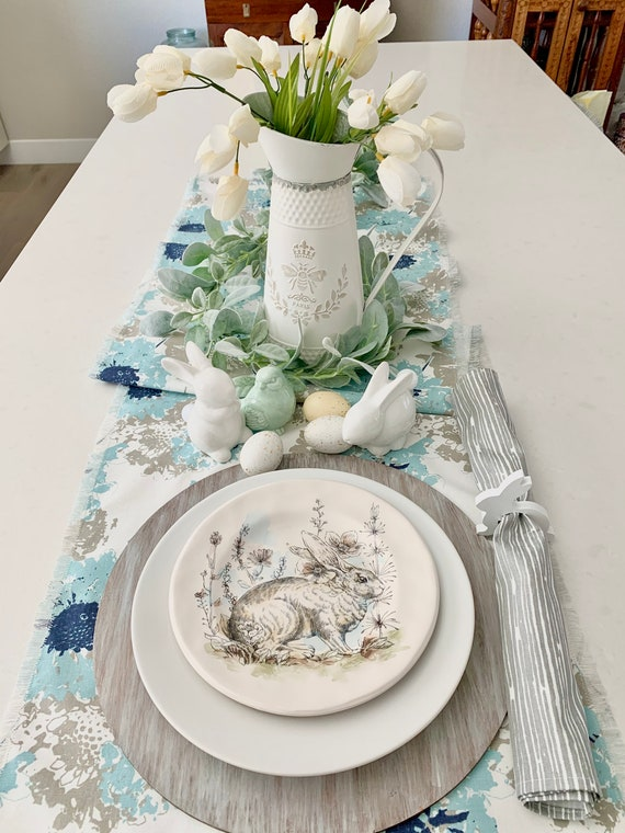 Blue and Gray floral print table runner| Soft blue| French| Farm table|  Spring| Easter| Summer|Outdoor| Easter table decor|Custom orders