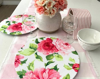 Pink Floral Charger Plates Covers  Peonies  Cotton   Set of two  Table settings  Spring  Weddings Outdoor Easter  rehearsals  Mothers' Day