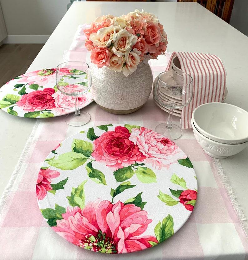 Pink Floral Charger Plates Covers Peonies Cotton  Set of image 0