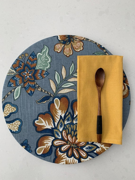 Blue Charger Plate Cover  100% cotton  Floral print fabric  Table setting  weddings Spring Summer  Fall   Gift   Set of two  Farmhouse