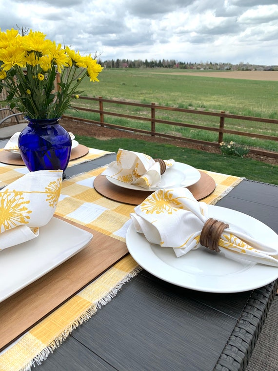 "Yellow Dandelion dinner Napkins| Cotton Linen blend|17"" x 17""| Set of Two| Farmhouse| Patio table| Spring |Summer| Picnic napkins ."