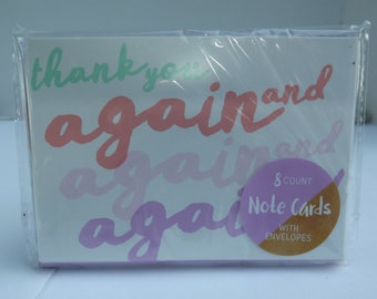 """8 Count Note Blank Note Cards with Envelopes """"Thank you again and again"""""""