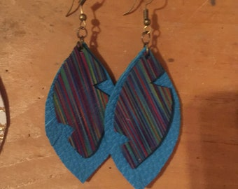 Rainbow and turquoise layered earrings