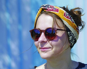 headband on the front, woman, patterned, colorful,