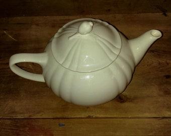 Vintage White Ceramic Teapot