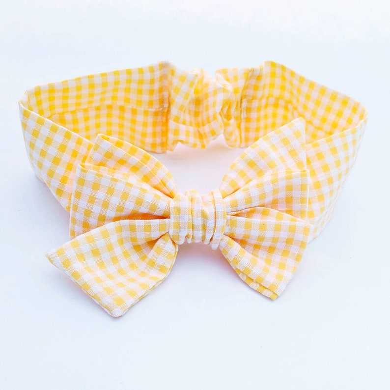 Oversized Bows Yellow Hair Bow Baby Shower Gifts Plaid Bow Birthday Gift Baby Headband Big Bow