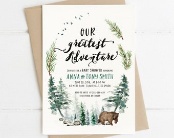 Adventure Baby Shower Invitation Woodsy Rustic Boy Baby Invite Gender Neutral Pine Trees, Green - customizable digital printable DIY card