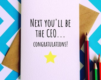 New job card etsy next youll be the ceo congratulations greetings card new job card congratulations on the new job promotion card funny promotion card m4hsunfo
