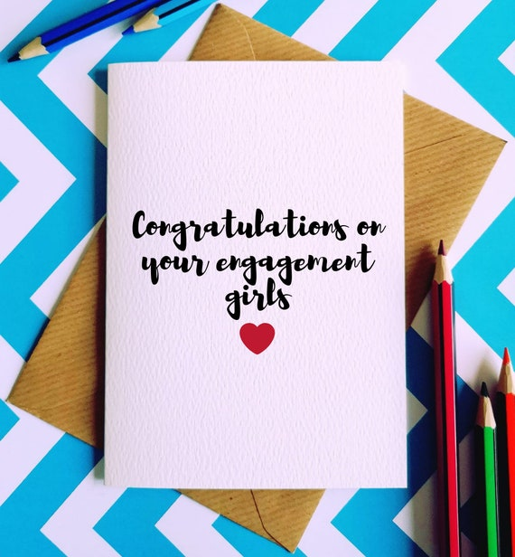 Congratulations on your engagement girls greetings card etsy image 0 m4hsunfo