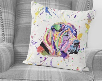 Shar Pei Cushion Cover Personalised Dog Christmas Pillow Name Gift RD53
