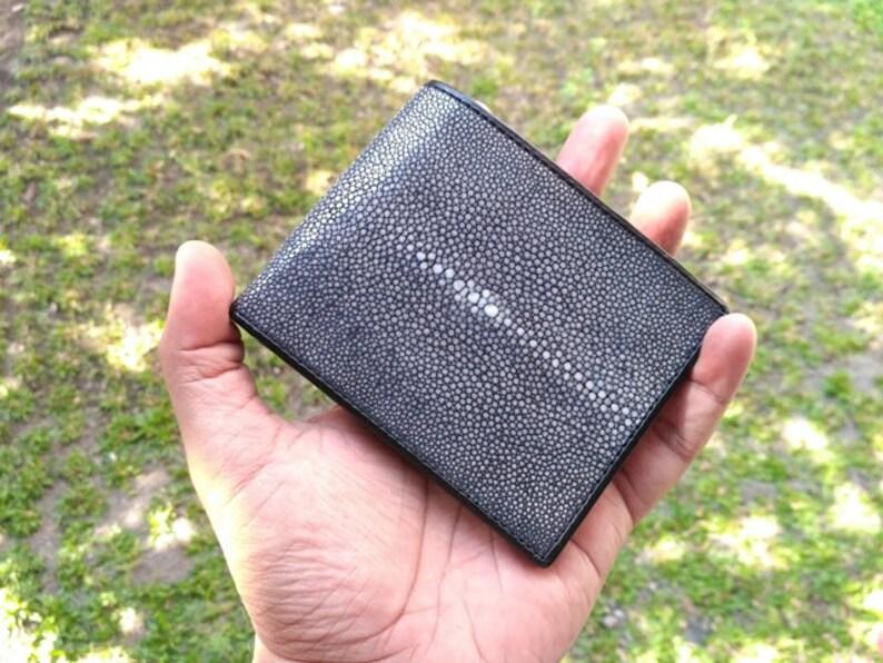 Genuine Real 2 Eye Stingray Skin Leather Man Bifold Shiny Black Wallet New