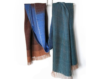 Handwoven unique scarf 'River' created with European certified 100% merino wool yarn, luxury fashion accessories