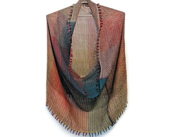 Handwoven unique snood 'The Earth' from the collection of 'Winter tubes', 100% merino wool, luxury fashion accessories