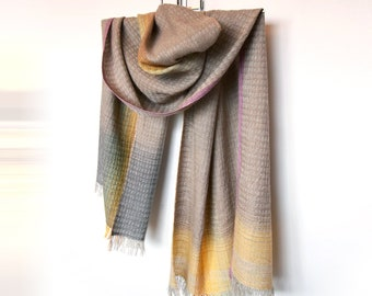 Handwoven unique scarf 'Drop of Yellow' created with certified European linen and merino wool yarn; luxury fashion accessories