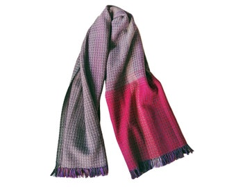 Handwoven unique 'Cherry scarf' created with certified European Merino wool yarn, luxury fashion accessories