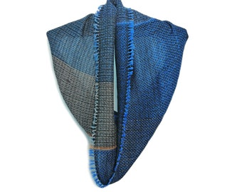 Handwoven unique snood 'Dusty blue no 1' from the collection of 'Winter tubes', 100% merino wool, luxury fashion accessories