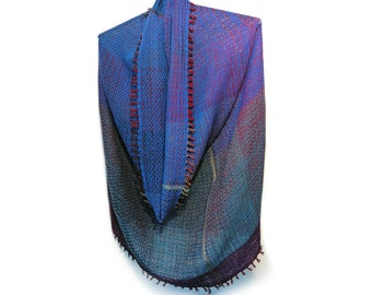 Handwoven unique 'Deep blue snood' from the collection of 'Winter tubes', luxury fashion accessories