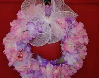 Spring Summer Hydrangea Wreath with Bird Accent, Berries and Bow