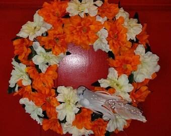 Spring Summer Fall Zinnias  Wreath with Bird Accent