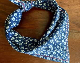 Patriotic - Paws & Stars - 4th of July - Dog Bandana - Dog Bow Tie- Red White Blue - FREE SHIPPING